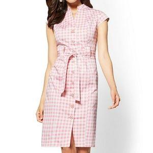 Pin Up Girl Pink gingham plaid picnic midi dress